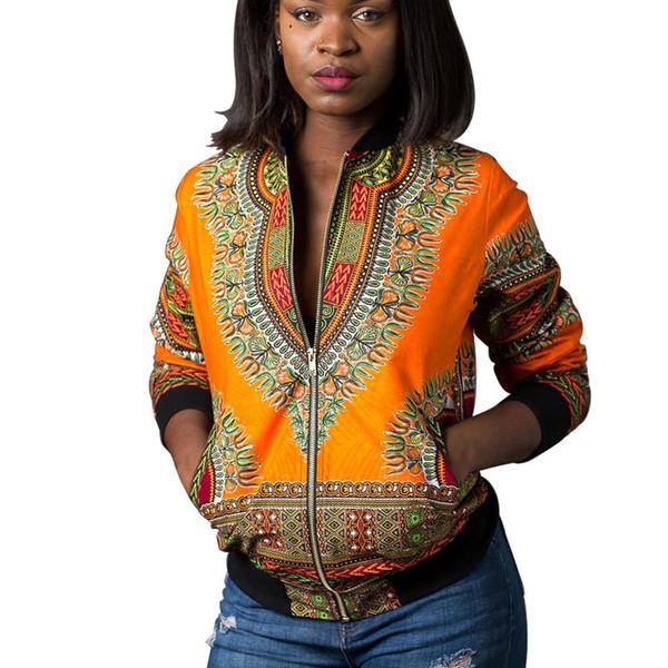Vintage Indie Folk Womens Jacket Coat Autunno Inverno Dashiki Africano stampato cerniera Bomber Giacca di base Outwear Africa Abbigliamento