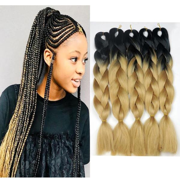 top popular Honey Blonde Ombre Braiding Hair 1B 27 Black Roots Blonde Ombre Crochet Twist Hair 24 Inch 100g Synthetic Jumbo Braids Hair 2020