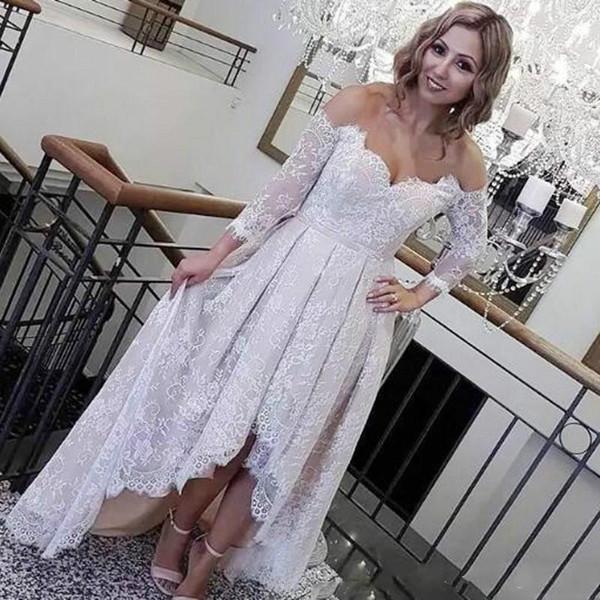 Vestidos de novia de encaje de Modest High Low Plus Size Ilusión de Garden Garden 3/4 de manga larga Vestido de novia Vestido de novia formal árabe
