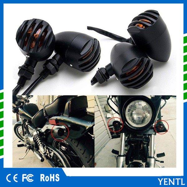 best selling YENTL free shipping 12V Universal Bobber Cafe Racer Chopper Turn Signals Indicator Lights Motorcycle Retro Grill Headlight Hi Lo Headlamp
