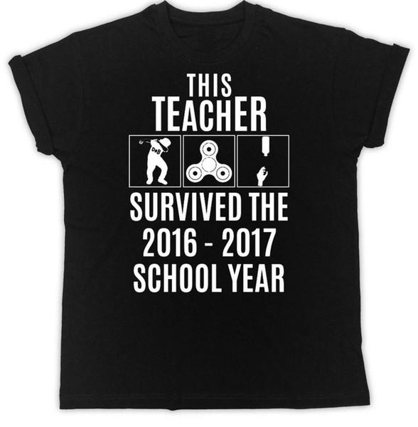 Lehrer-T-Shirt überlebte Schuljahr-lustige Neuheit-Ideal-Geschenk-Unisext-shirt Kurzhülse grundlegende Oberseiten-Spitze-T-Stück
