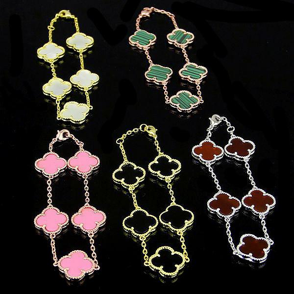 Titanium steel Black and white red and green banges flower shell four-leaf flower bracelets 18K rose gold female gold bracelets for woman