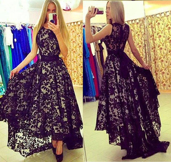 2019 High Low Prom Dresses Scoop Neck A-line Black Lace Ivory Lining Evening Dress Formal Arabic Gowns With Satin Belt