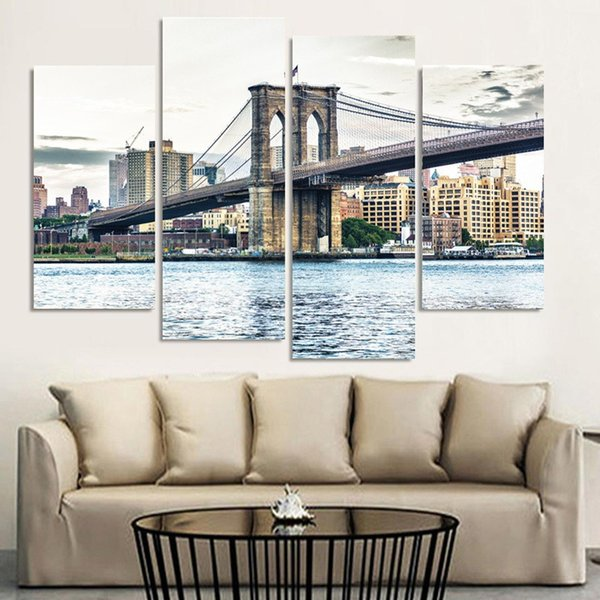 4 Pieces Canvas Painting New York Brooklyn Bridge Landscape Canvas Poster Print for living room home wall decoration no frame