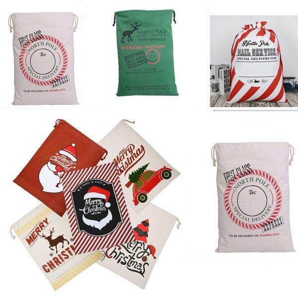2018 new customizable Christmas Bags Large Organic Heavy Canvas Bag Santa Sack Drawstring Bag With Reindeers Santa Claus Sack Bags for kid
