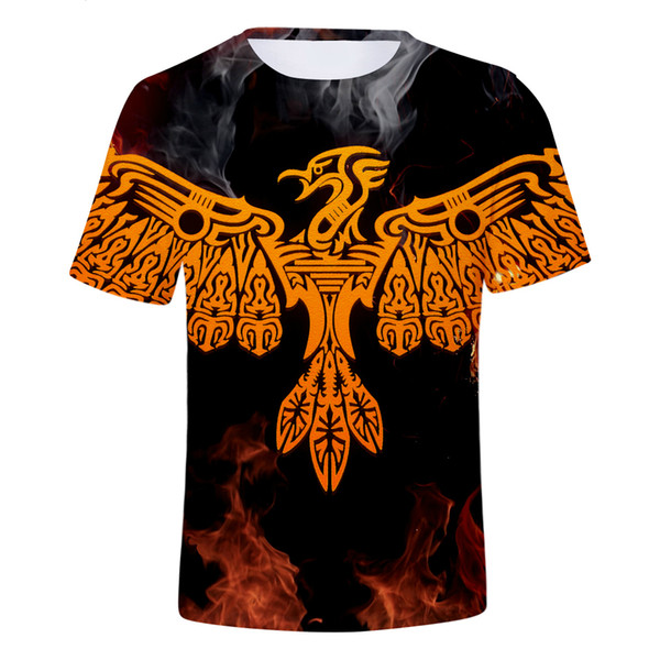 Kpop FireBird 3D Short Sleeve T-Shirt Fashion Hip Hop Style T shirt Short Sleeve Man/Women Cotton Clothes Plus Size
