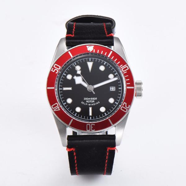 orologio da polso corgeut in vetro zaffiro automatico con quadrante nero quadrante sterile cinturino in pelle 41mm fibbia in acciaio nero bay B2
