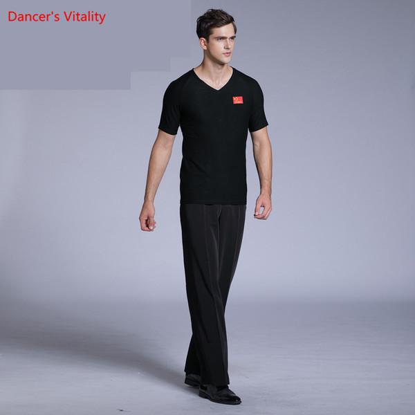FashionMen Modern Dance Slim Fit Top Loose Pants Trousers Competition Performance Suit Boys Ballroom Rumba Samba Jazz Foxtrot Quickstep Sets