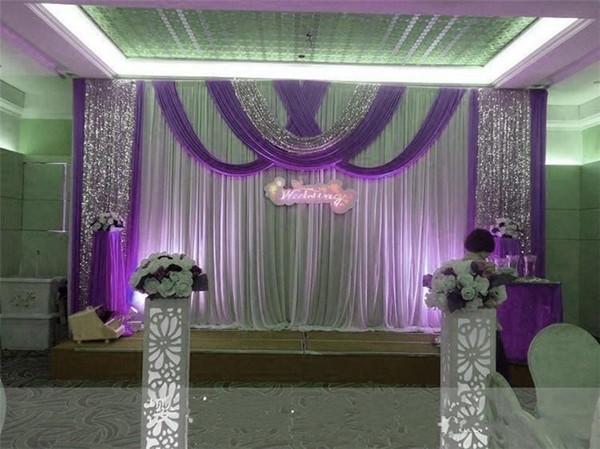 3M*6m Wedding Party Stage Celebration Background Satin Curtain Sequins Beads Edge Drape Pillar Ceiling Backdrop Marriage decoration