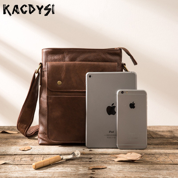 Real Cowhide Leather Manual Men Messenger Bag Retro Soft Shoulder Bag Vertical Casual Message Male Fashion Crossbody Hot