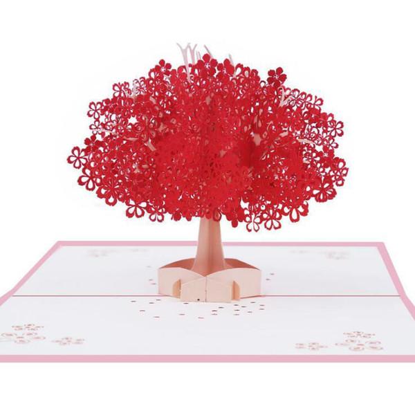 Compre Sakura Tarjeta De Felicitación 2 Diseño Elegante 3d Pop Up Postal Romántica Sakura Tarjetas Postales Invitaciones Postales De Boda Para Los