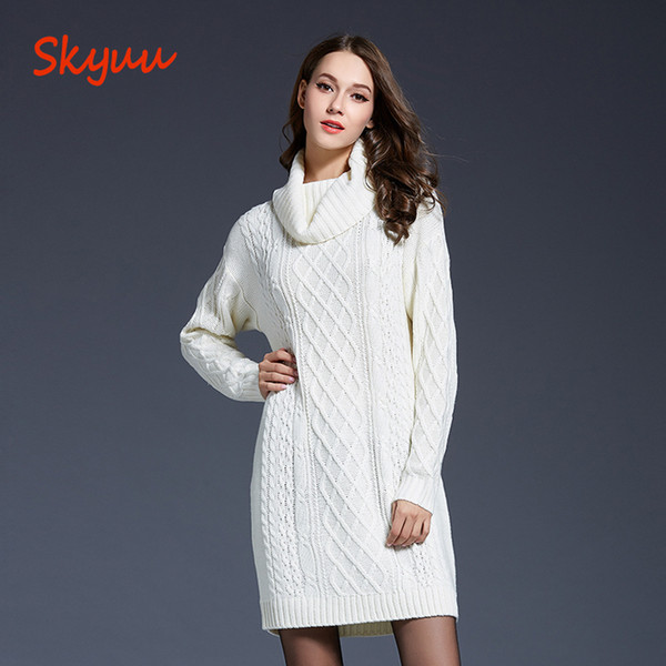 2019 Skyuu 2018 Winter Sweater Dress Plus Size Women Long Sleeve Turtleneck  White Mini Knitted Dress Lady Sweater Dresses For Winter From Vickay, ...