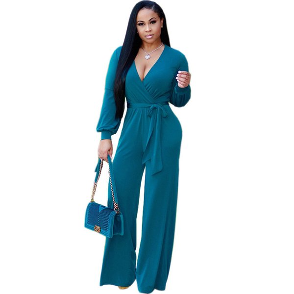 Women EleLong Sleeve Jumpsuit Sexy V-Neck Loose One Piece Romper Casual Wide Leg Jumpsuits with Sashes Combinaison Femme
