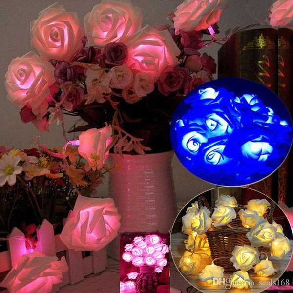 Led Rose Flower Fairy String Lights For Christmas Decoration 10 Led/20Led Battery Powerd Wedding Party Bar Decoration HH7-1730