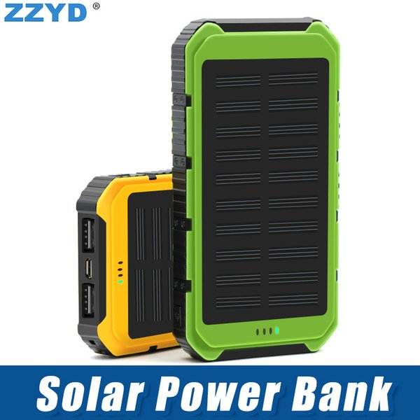 ZZYD 4000mAh Solar Power Bank Waterproof External Battery portable Solar Powerbank For Cell phone iPhone 7 plus iPhone 8 With retail pack