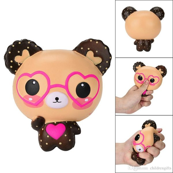 Squishy Love Cute Glasses Bear Scented Squishy Charm Super Slow Rising Squeeze Toys Stress Reliever Toy Nice Gift T119
