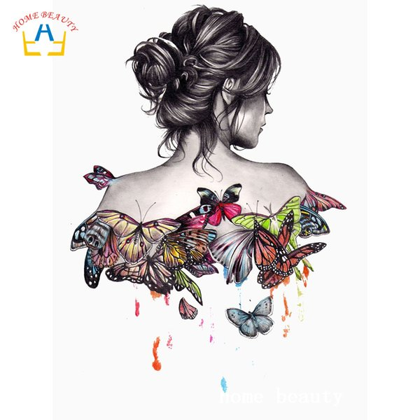 3d diy diamond painting butterfly women pictures for the kitchen wall home decoration full drill resin diamond embroidery AC363