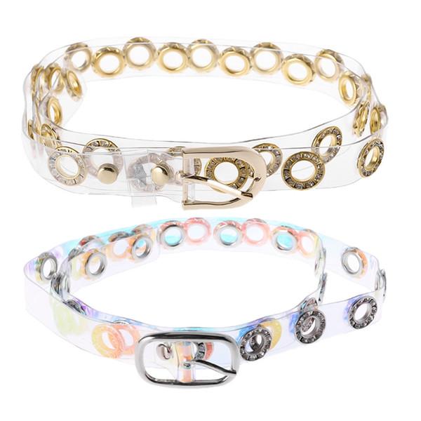 KLV Fashion Chic Novelty Womens Transparent Wide Waist Pin Belt Buckle Metal Chain Rock Waistband Street Accessories Belts New