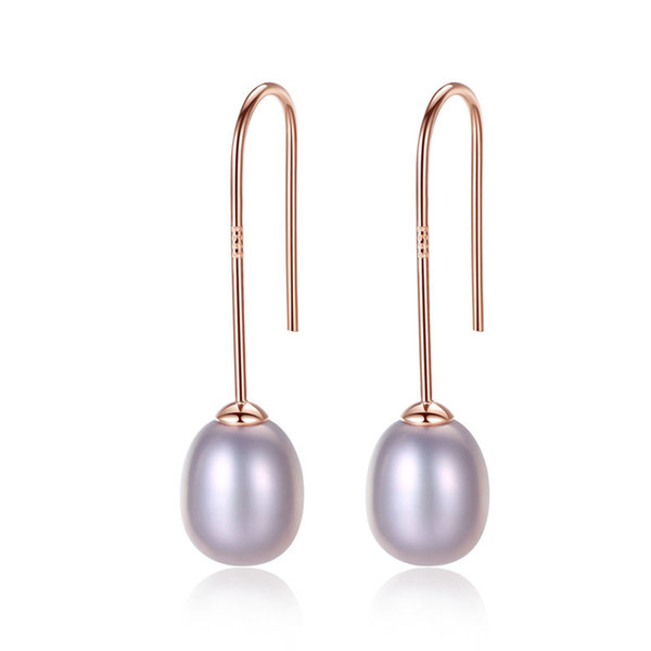 New design wild creative pearl earrings 8-9mm natural pearl 925 sterling silver earrings for women charms jewelry holiday gift