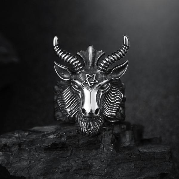 Moda Gran Oveja Cabra Cuerno Cabeza Anillo Satanás Adoración Baphomet Aries Zodiaco Wicca Star Para Hombres Único Biker Punk Animal Joyería