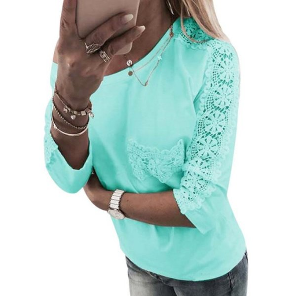 Hollow Out Lace Floral Patchwork Solid T-shirts For Women Half Sleeves Top Female O-Neck T-shirt White/Green/Pink Color