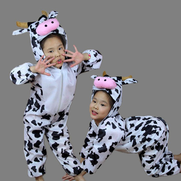 Accessories Cosplay Costumes Umorden Children Kids Toddler Cartoon Animal Milk Cow Costume Performance Jumpsuit Halloween Costumes for Bo...