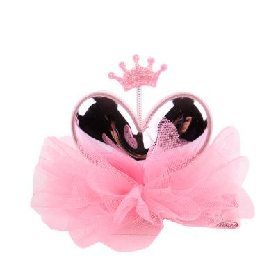 Children's headwear, bright skin mirror, new hair ornament, lovely gauze, baby heart hair clip.