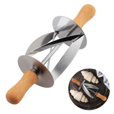 Stainless Steel Rolling Cutter for Making Croissant Bread Wheel Dough Pastry Knife Wooden Handle Baking Tool Kitchen Knife CCA10155 60pcs
