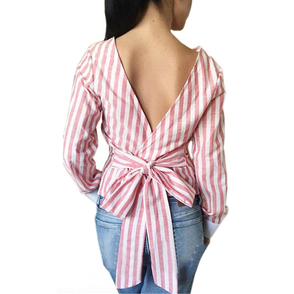 Backless Bowknot Blusas 2019 Plus Size Sexy Ladies Striped Blouse Open Back Deep V Tops Women Long Sleeve Bandage Shirt LX008
