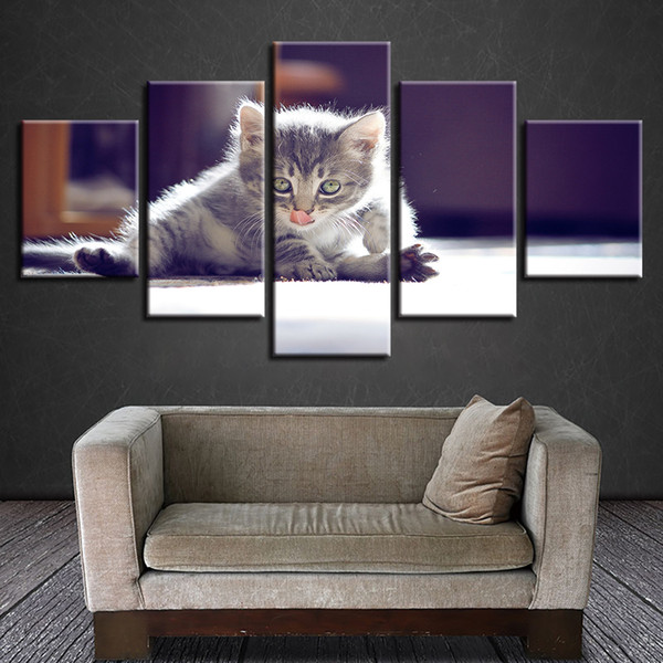 Canvas Painting Wall Art Home Decor HD Prints 5 Pieces Touche Pussy Cat Pictures Animal Poster Modular For Living Room Framework