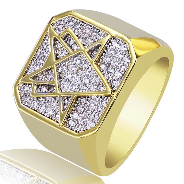 2018 New Style Copper Gold Color Plated Iced Out CZ Stone Square Ring Hip Hop Rock Men Jewelry 18mm Rings With 7 8 9 10 11 BR016