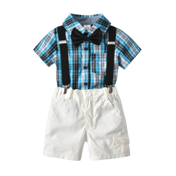 boys sets 2018 summer new styles Baby kids cute gentleman bow tie boys plaid bowtie shirt+white color Gentleman's straps shorts 4 sets