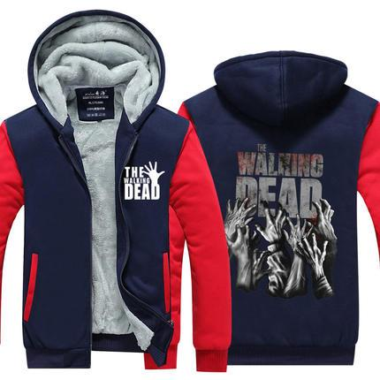 Men Velvet Thicken Hooded Sweatshirts The Walking Dead Print Zipper Hoodies Winter Cardigan Jacket Coat Pullover USA EU Size Plus Size