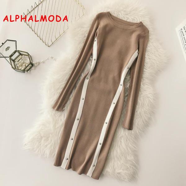 ALPHALMODA OL Gracioso Tricô Vestidos de Inverno 2018 Mulheres Novo Bloco de Cor Rivet Listrado Vestido Pullovers Magros Malha Vestido