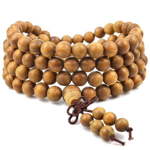 2018 Natural Green Sandalwood Tibetan Buddhist Bracelets Women Men Buddha Prayer Beads Bracelet Rosary Wooden Bangle Jewelry