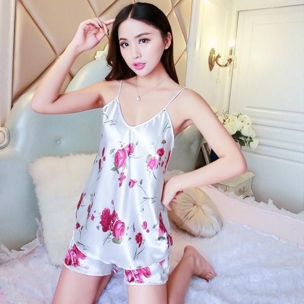 Sexy Ice Silk Sleepwear Braces Shirts Shorts Home Underwear Pajamas Robes Set Women Summer Rose Home Clothes 8 6az gg
