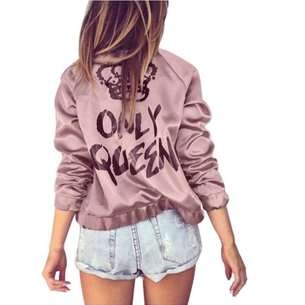 Womens Jacket Only Queen Print Zipper Fashion Jacket Satin Bomber Long Sleeve Coat For Women Female CASUAL COOL HOT SALE SLIM