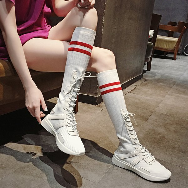 2018 Ins heiße stretch schuhe frauen kniehohe stricken socken stiefel junge mädchen atmungs lange botas feminino mischfarbe booties
