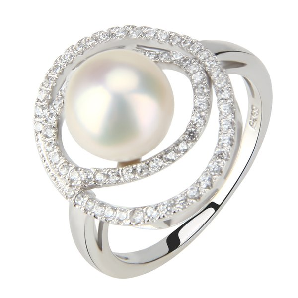 Fashion Jewelry 1 Piece 925 Pure Sterling Silver 8.5-9mm Freshwater Bread Pearl Cluster Ring Designs with Shiny Zircons for Women