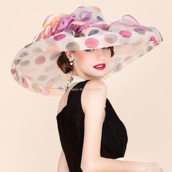 Pink elegant beach hat women organza wide brim wedding hat sombrero ladies chapeau femme fedora top kentucky derby hat church Cosplay caps