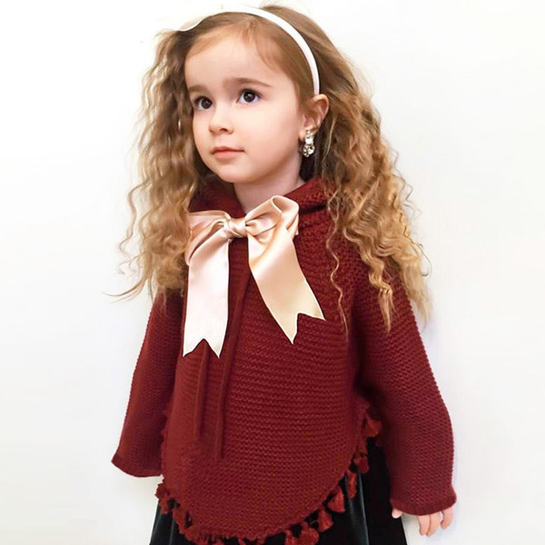 2018 Baby Girls Sweaters Cape Autumn Hooded Children Knitted Cardigans Fringe Toddler Kids Coats Winter Warm Infant Clothes 0-2T