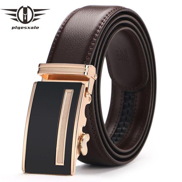Plyesxale Genuine Leather Belt Male Luxury Designer Automatic Alloy Buckle Men Waist Belt Formal Dress Belts ceinture homme G97