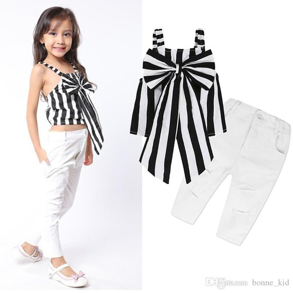 2018 Kids Girls Clothing striped sun-top+ripped pants 2pcs set outfits big bowknot kid casual clothes children summer boutique costume