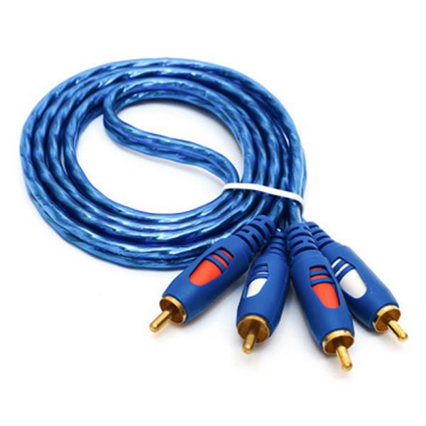 Câble AV 2RCA à 2RCA Câble Plaqué Or 3.5 Jack Audio Câbles RCA Casque AUXJack Splitter pour Ordinateur Haut-Parleur