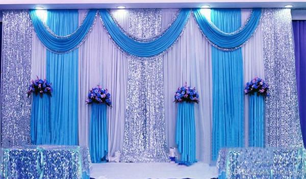 3 * 6 м (10 футов * 20 футов) Свадебные занавески с плотными блестками Swag Высокое качество Ice Silk Material Свадебный вечер