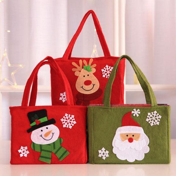 Sevimli Noel Baba Kardan Adam Şeker Hediye Çanta Çerez Ambalaj Poşetleri Parti Çanta Merry Christmas Depolama Paketi