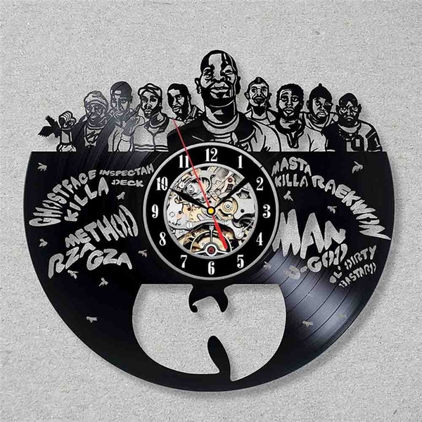 best selling WU-TANG hip-hop band vinyl creative wall clock fashion home decoration personalized wall art clock (Size: 12 inches, color: black)