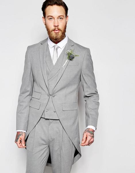 Светло-серый фраки Мужские костюмы Формальные Пром Wear 3 шт (куртка + брюки + жилет) Best Man Groomsmen костюм партии вечера Set