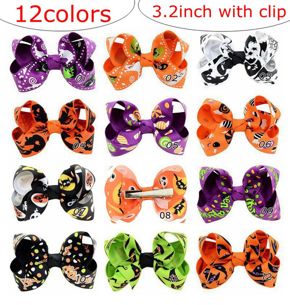 top popular 12Designs 3.2inch bows kids Girls Halloween pumpkin hairpins Barrettes children spider hair accessories princess Layered Bow Hair clips 2020