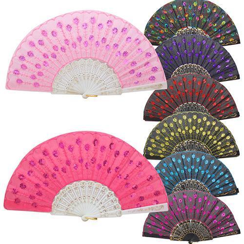 Chinesischer faltender Pfau-Handfan-Korn-Gewebe-Dekor färbte gesticktes Blumen-Muster-Schwarz-Weiß-Stoff-faltender Handfan
